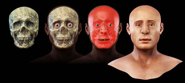 Etapas de la reconstrucción facial 3D. (Cicero Moraes / CC BY-SA 3.0)