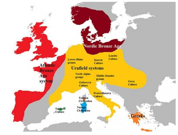 Europa a finales de la Edad del Bronce, alrededor del año 1100 a. C.