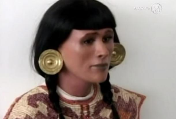 "Reconstrucción facial de ""la sacerdotisa de Chornancap"" (Captura de pantalla obtenida de YouTube video, NTDTV)"