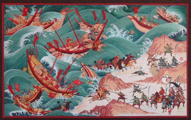 Imagen: La primera invasión mongola a Japón.