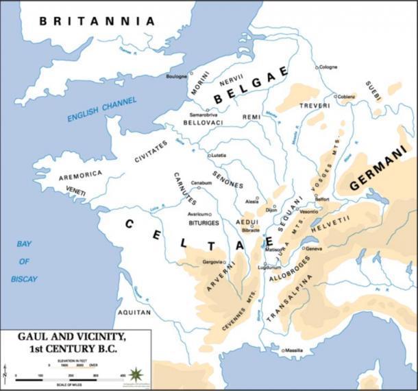 Mapa de la Galia durante el siglo I aC, mostrando el territorio de los Alogobres)