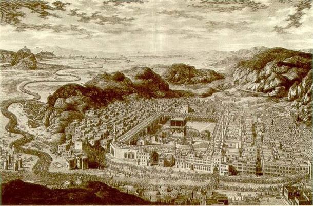Grabado de La Meca, alrededor de 1778. (Dominio público)