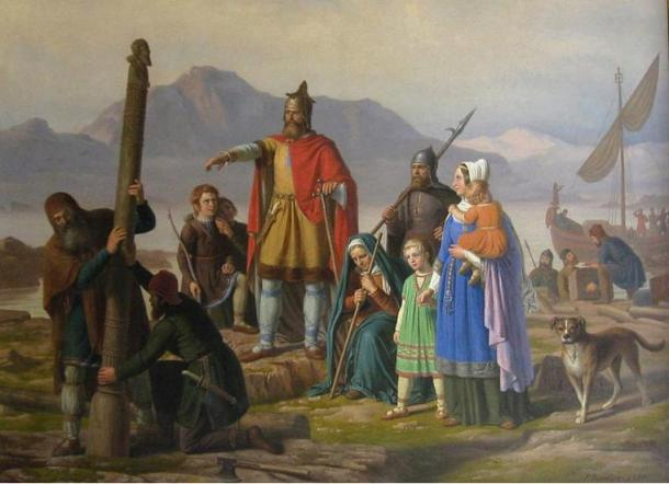 Ingolf tager Island i besiddelse, by P. Raadsig (1850). Retratando a Ingólfur Arnarson, el primer colonizador permanente de Islandia. La leyenda dice que arrojó dos pilares por la borda y juró establecerse en el lugar donde éstos cayeran. Y cayeron en lo que hoy se conoce como Reikiavik (cubierta de humo).