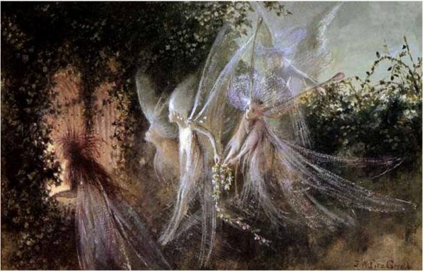 El reverendo Kirk afirmaba haber visitado el reino secreto de las hadas.'Hadas mirando a través de un túnel', por John Anster Fitzgerald, siglo XIX.