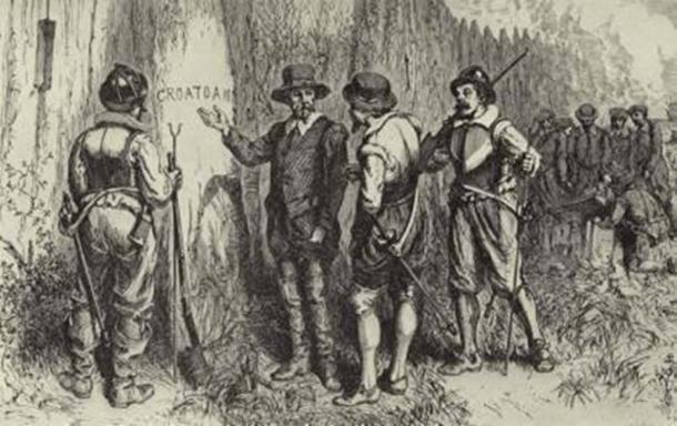 "John White descubre la palabra ""CROATOAN"" tallada en la empalizada de la fortaleza de Roanoke. (Dominio publico)"
