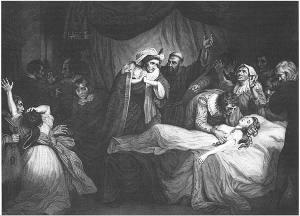 Como en el pasaje de Shakespeare en el que Romeo encuentra a Julieta dormida y la cree muerta, la historia más antigua de Salernitano contiene una escena en la que Mariotto descubre a Giannoza sumida en un profundo sueño y cree que ha muerto