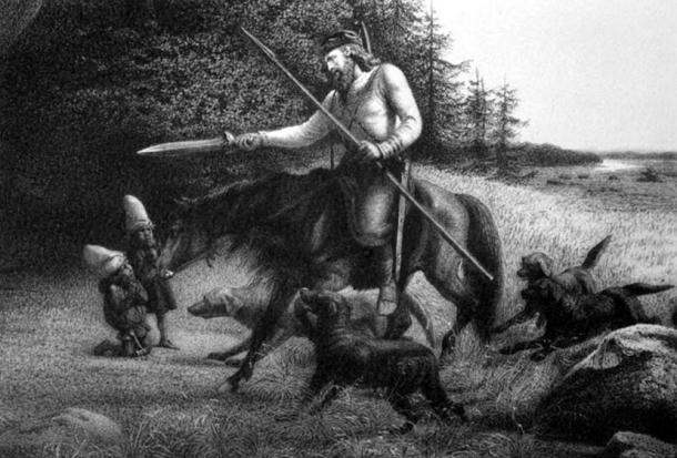 El rey Svafrlame empuñando a Tyrfing, la espada mágica hecha por enanos, mitología nórdica de la Edda Poética (1906) V. Rydberg