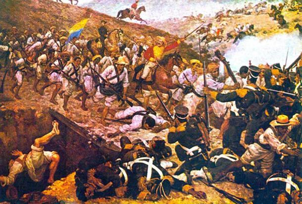 La batalla de Boyacá en la Guerra de Independencia de Colombia, Venezuela, Ecuador y Panamá contra España. (Petruss / Dominio Público)