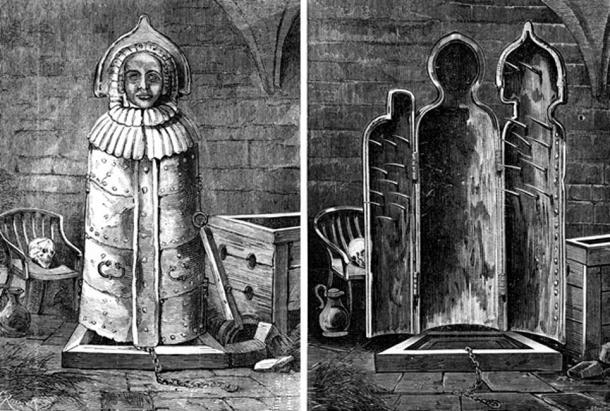 La doncella de hierro de Nuremberg, grabado vintage. (Morphart / Adobe)