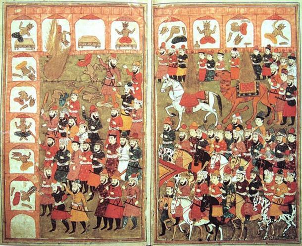La entrada de Mahoma a La Meca y la destrucción de los ídolos. Mahoma se muestra como una llama en este manuscrito. Encontrado en Hamla-i Haydari de Bazil, Kashmir, 1808. (Dominio público)