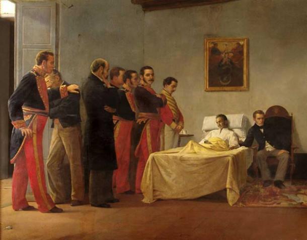 La muerte de Bolívar, del pintor venezolano Antonio Herrera Toro. (Gussgav / Dominio Público)