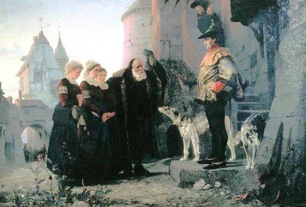 Vasily Polenov: Le droit du Seigneur (1874). Pintura de un artista Victoriano de un viejito entregando a sus hijas a su Señor Feudal.