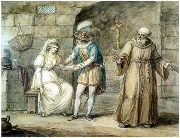 Romeo y Julieta son casados por un fraile en la obra de Luigi da Porta