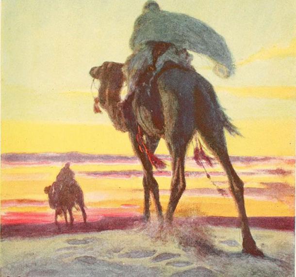 """Mahoma y Abu Bakr huyen de La Meca, como se muestra en """"El esbozo de la historia"""". (Imágenes de libro de archivo de Internet)"""