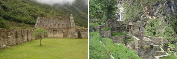 Izquierda: Plaza principal en Choquequirao. Derecha: Restos de casa Inca en Choquequirao
