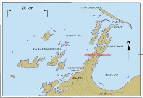 Mapa del Archipiélago de Dampier y la Península Burrup, Australia del Oeste