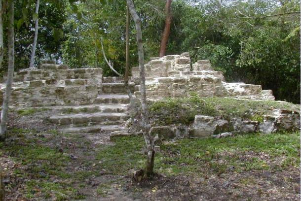 """Tzunu'un, una casa maya en El Pilar, el antiguo centro de la ciudad maya (Belice/Guatemala). Tzunu'un quiere decir """"colibrí"""" en lengua maya."""