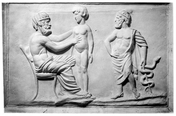 Médico y paciente griego, escayola en W.H.M.M. (Wellcome Collection / CC BY 4.0)