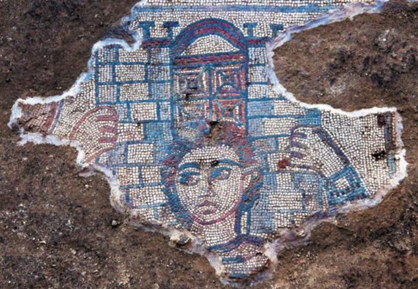 Mosaico que representa a Sansón llevando el portón de Gaza, Huqoq, región de Galilea, Israel