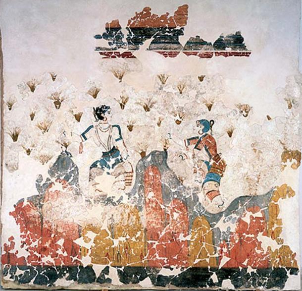 Pintura de recolectores de azafrán de las excavaciones de la Edad de Bronce en Akrotiri en la isla de Santorini, Grecia. (Dominio publico)