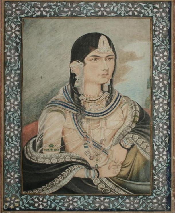Retrato de Bega Begum (Hamida Banu Begum), quien encargó la construcción de la tumba en memoria de su difunto marido, Humayun. Siglo XIX.