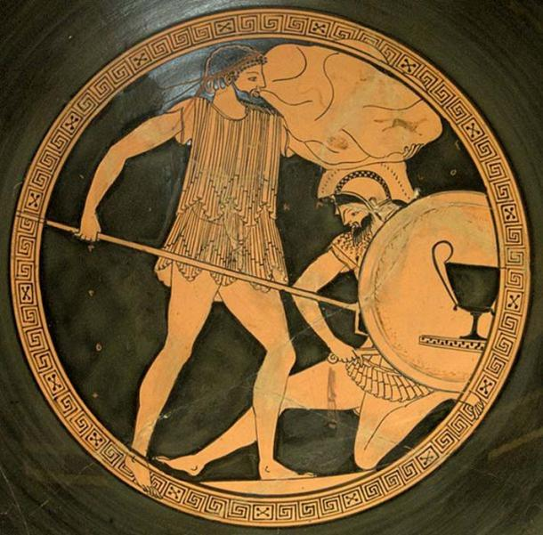 (Izquierda) Poseidón sosteniendo un tridente, luchando contra un gigante. (Bibi Saint-Pol / Public Domain)