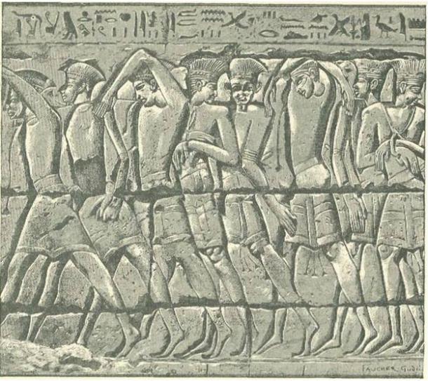 Procesión de Cautivos Filisteos en Medinet-Habu.