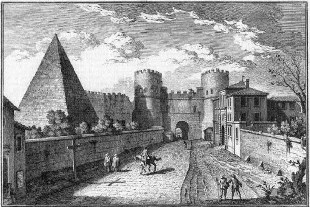 La Pirámide de Cestius incorporada dentro de los Muros Aureliano