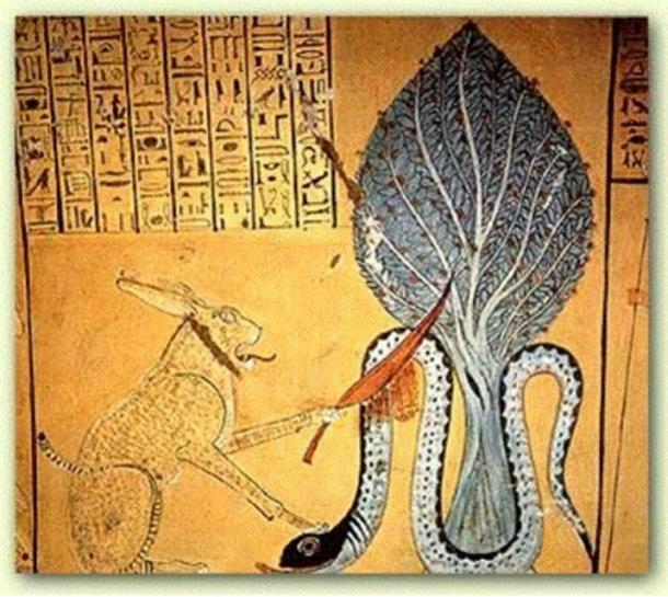 Ra en forma de un felino asesinando la serpiente en Apophis, Tumba de Inherkha, 1160 BC, Thebes.