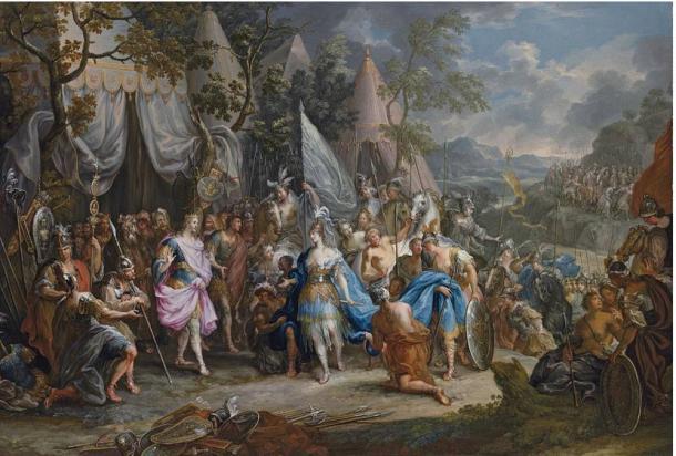 Pintura rococó del siglo XVIII de 'Talestris, la Reina de las Amazonas, en el Campamento de Alejandro Magno, de Johann Georg Platzer
