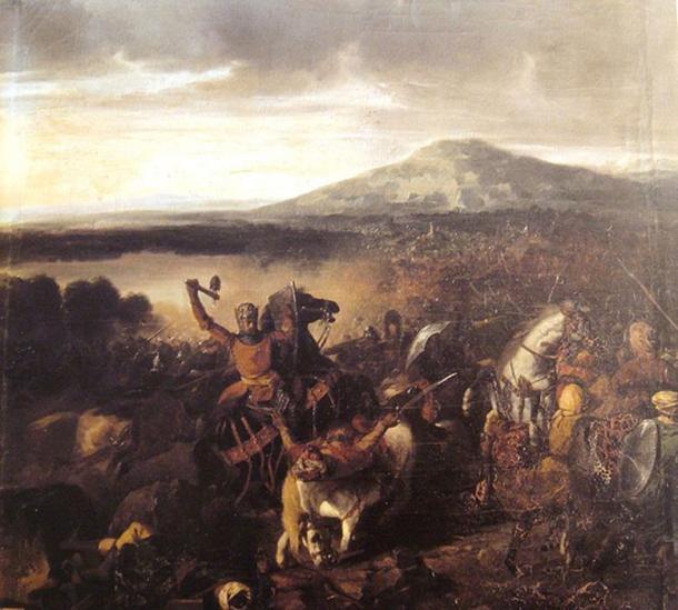 """""""Roger I de Sicilia en la batalla de Cerami en 1063"""" (circa 1860) por Prosper Lafaye. (Dominio publico)"""