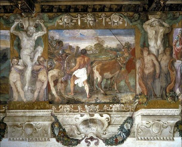 Rómulo aró un surco para delinear la periferia de Roma. (Dominio publico)
