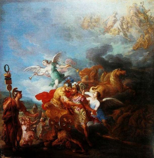 """""""Rómulo siendo llevado al Olimpo por Marte"""" autor Jean-Baptiste Nattier."""