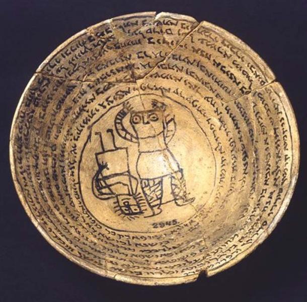 Tazón del encantamiento realizado en cerámica del período de Sasanian, 6-7th dc. (Señales al Edén)