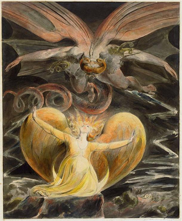'El gran dragón rojo y la mujer vestida del sol' de William Blake