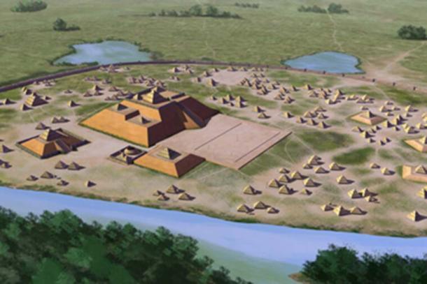 Una concepción artística del sitio de Etowah, 9BR1, un sitio arqueológico de cultura de Mississippi ubicado en las orillas del río Etowah en el condado de Bartow, Georgia. Construido y ocupado en tres fases, desde 1000-1550 dC. (Herb Roe / CC BY-SA 4.0)