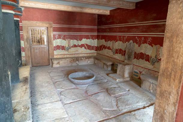 Una de las habitaciones restauradas más impresionantes del palacio de Knossos. Crédito: Ioannis Syrigos