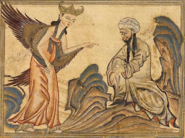 En esta pintura, una miniatura del libro La Historia Universal de Rashid al-Din, publicado en el año 1307, Mahoma recibe su primera revelación del arcángel Gabriel. La fe musulmana dice que Gabriel recitó el Corán, la palabra de Dios, a Mahoma, quien la transcribió.