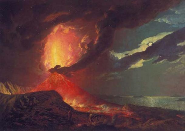 Vesubio en erupción, con una vista sobre las islas en la bahía de Nápoles, Joseph Wright of Derby, 1776. (Dominio público)