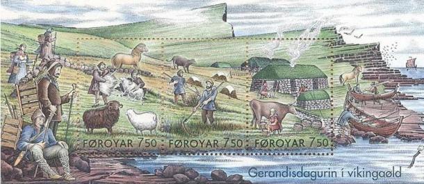 Estampillas que muestran cómo era la vida cotidiana en la época vikinga