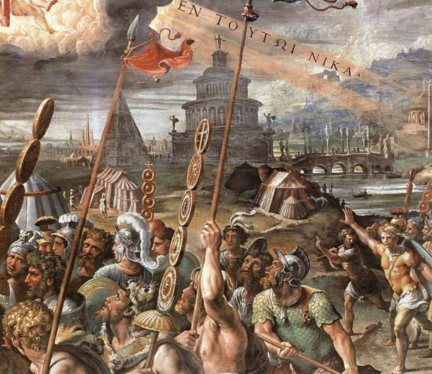 La 'Visión de la Cruz' por Rafael. La Pirámide de Rómulo puede ser vista en el fondo.