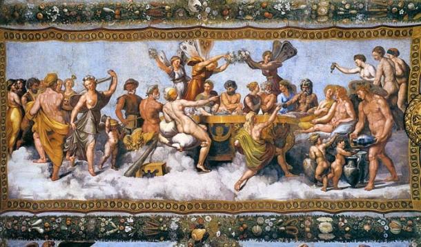 Banchetto nuziale - El banquete nupcial de Cupido y Psique, fresco (1517) por Raphael