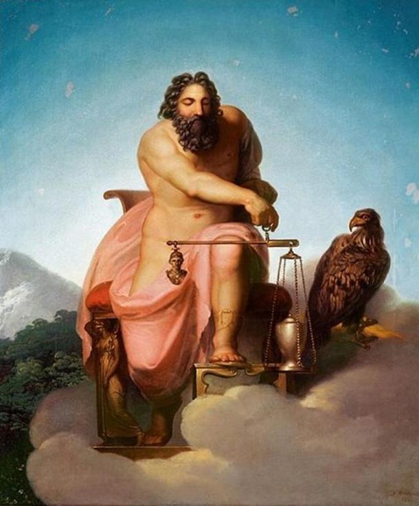 Zeus pesando el destino del hombre por Nicolai Abraham Abildgaard, 1793