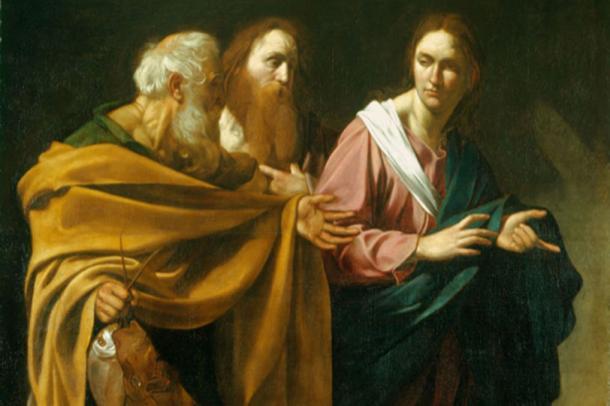 Pintura de los santos Pedro y Andrés, la iglesia bizantina fue descubierta en el lugar de su hogar. (Outriggr / dominio público)