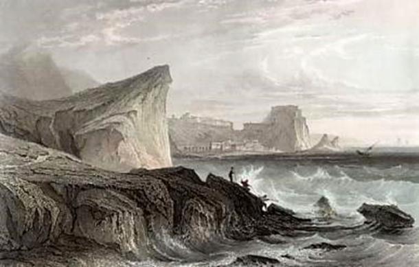 Un grabado del siglo XIX en el estrecho de Messina, el sitio asociado con los monstruos marinos Scylla y Charybdis. (Mzilikazi1939 / Dominio público)