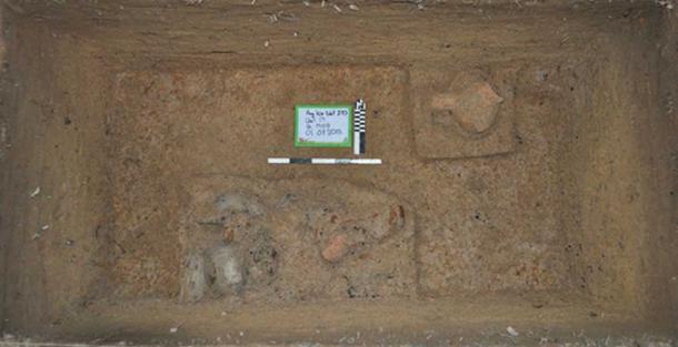 Un vertedero de cerámica y alimentos permanece en un montículo de ocupación. Los arqueólogos toman fragmentos quemados de restos orgánicos de características como esta hasta la fecha en que tuvieron lugar actividades particulares. (Alison Carter / CC BY-SA 4.0)