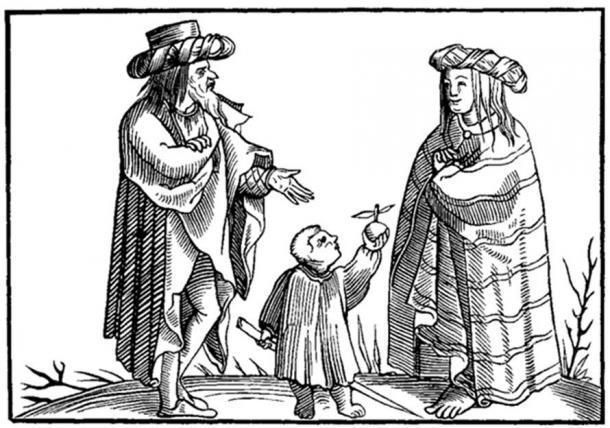 """Una familia gitana. Facsímil de un grabado en madera en la """"Cosmographie Universelle"""" de Munster: en folio, Basilea, 1552. (Dominio público)"""