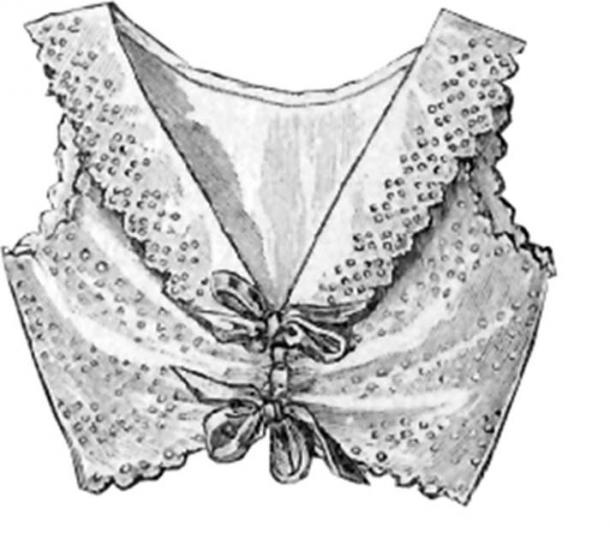 Una prenda interior con forma de sujetador de encaje de la edición de diciembre de 1902 de 'La Mode Illustree', una revista de moda para mujeres. (Dominio publico)