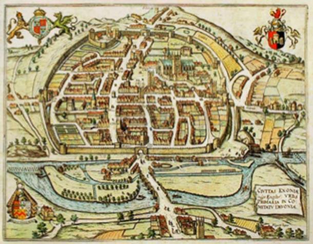 Un mapa de Exeter en 1563 que muestra las murallas de la ciudad, el asentamiento de Isca Dumnoniorum se desarrolló alrededor de la fortaleza romana. (Smalljim / Dominio público)