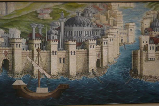 Un mural de las paredes y boom o cadena en la boca del puerto, toda una parte de la formidable defensa de Constantinopla. Al final, los otomanos los vencieron a todos (CC BY SA 3.0)
